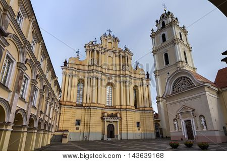The Church of St. Johns St. John the Baptist and St. John the Apostle and Evangelist is located at the Old Town of Vilnius Lithuania and dominates the university (Vilnius University) ensemble.