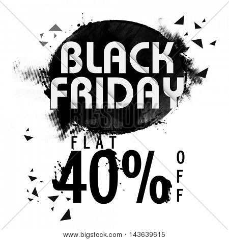 Black Friday Sale with Flat 40% Off, Creative Poster, Banner or Flyer design. Vector illustration.