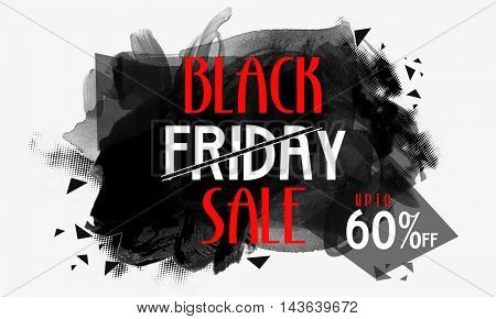 Black Friday Sale with Upto 60% Off, Creative Poster, Banner or Flyer with stylish abstract design.