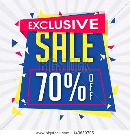 Exclusive Sale with 70% Off, Creative Poster, Banner or Flyer design. Stylish Typographical rays background.