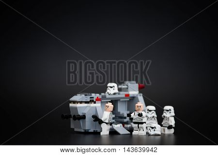 Orvieto Italy - November 15th 2015: Group of Star Wars Lego Stormtroopers minifigures repair a spaceship Lego is a popular line of construction toys manufactured by the Lego Group
