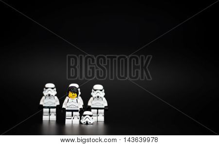 Orvieto Italy - November 15th 2015: Fan of Star Wars Lego Stormtroopers minifigures. Lego is a popular line of construction toys manufactured by the Lego Group