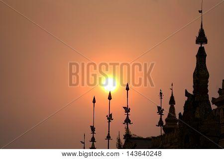 Silhouette suset pagoda in bagan mandalay myanmar