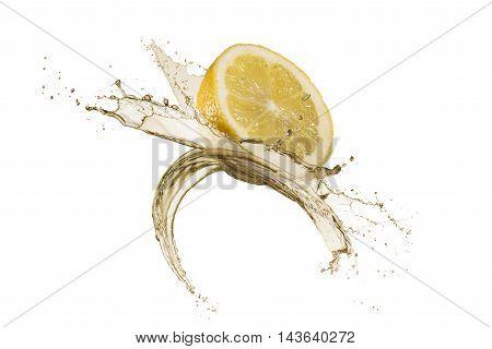 lemon slice with splash water around isolated on white