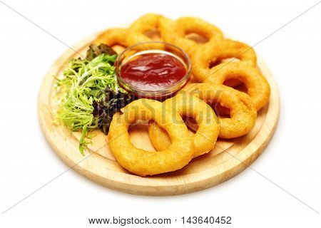 tasty Fried Squid Rings Breaded with Sauce