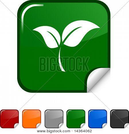 Ecology sticker icon. Vector illustration.