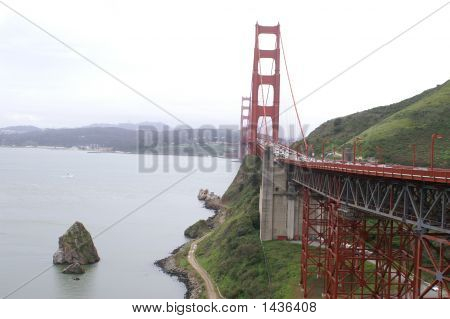 Golden Gate Bridge With Island.