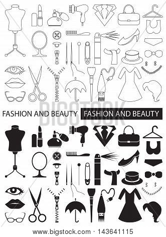 linear icons and black on white background on fashion and beauty clothing