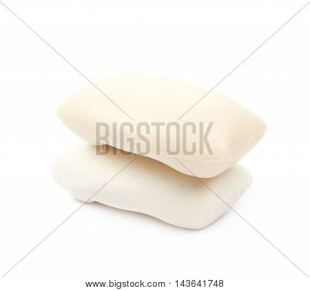 Two pieces of soap isolated over the white background