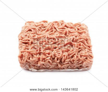 Pack of a ground minced beef meat isolated over the white background