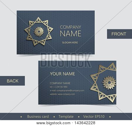 Layout Business Card With Golden Emblem-02.eps
