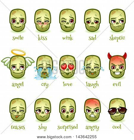 Set of emoticons funny zombie. Different emoticons for chats or messengers. Vector icons on a white background.