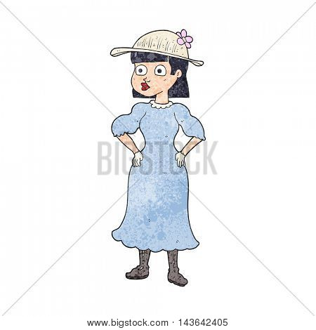 freehand textured cartoon woman in sensible dress