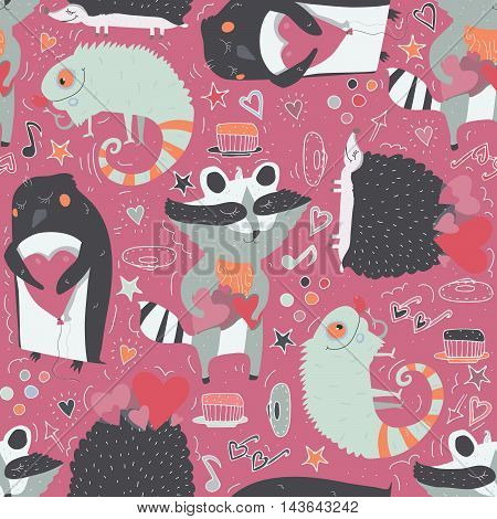 Seamless vector pattern with cute animals such as raccoon iguana and hedgehog and penguin with hearts decorated with doodle stars hearts and hand drawn decor. Cute illustration on vivid pink.