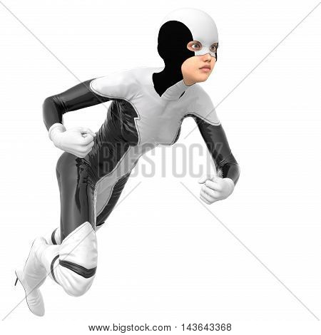 one slim girl in black and white superhero super suit. Close to the camera. The gaze is directed towards. 3D rendering, 3D illustration