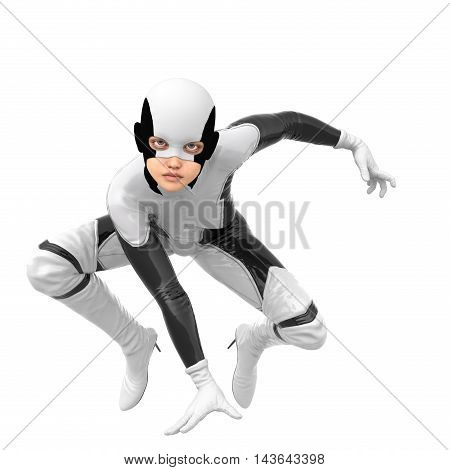 one slim girl in black and white superhero super suit. She sits on the tips of their shoes. Right hand on the floor. In the pose of the spider. 3D rendering, 3D illustration