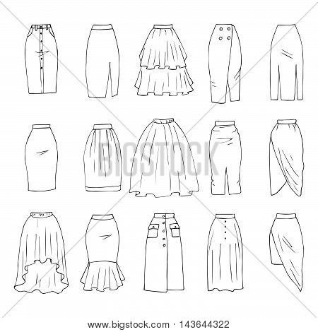 Hand drawn vector clothing set isolated on white. 15 models of trendy midi skirts.