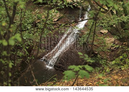 Unknown waterfall in ukrainian forest with foreground of plants