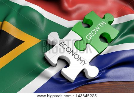 South Africa economy and financial market growth concept, 3D rendering