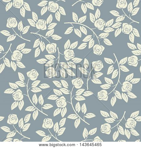 Elegant endless pattern with ivory roses can be used for linen, napkin designs, textile, kids clothing and more creative designs.