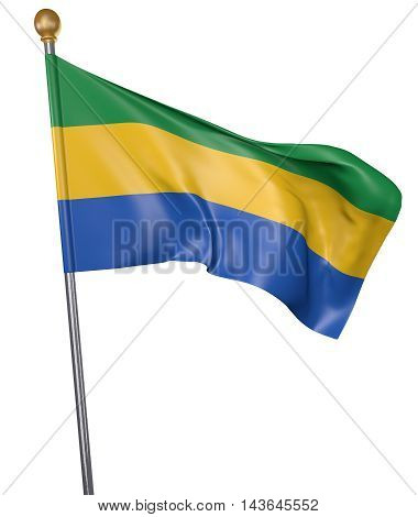 National flag for country of Gabon isolated on white background, 3D rendering