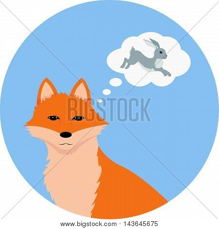 Vector illustration of red fox thinking about a hare on the blue round background