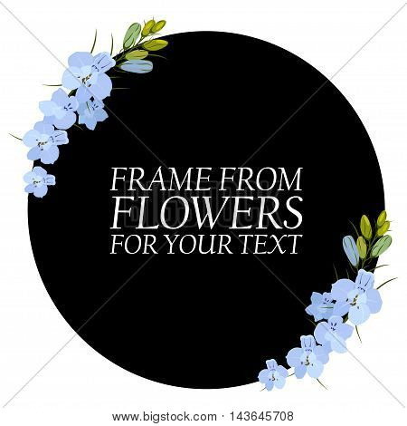 Illustration with light blue flowers, delphinium. With a black circle for your text.