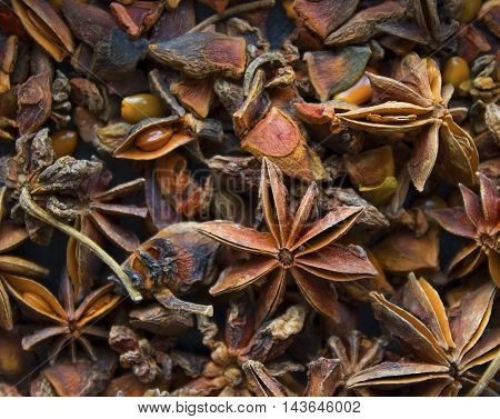 Pile of exotic dried spices star anise