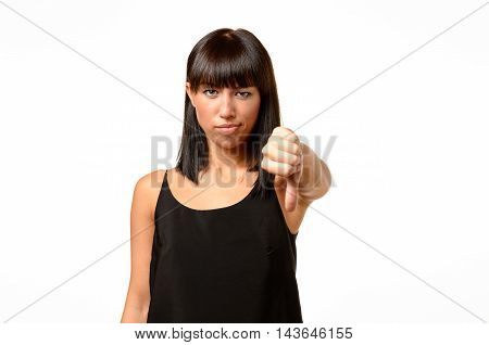 Rebellious Negative Woman Giving A Thumbs Down