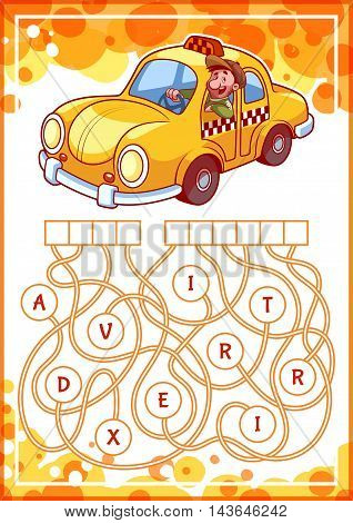Educational puzzle game with taxi. Find the hidden word. Cartoon vector illustration.