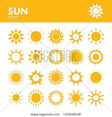 Sun. Icons set in vector. Summer or warm symbol