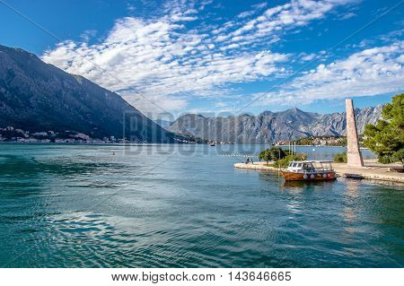 pier for the ships in the Bay of Kotor, Montenegro