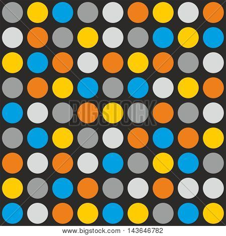 Tile vector pattern with grey, white, blue, yellow and orange polka dots on grey background