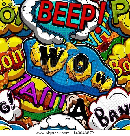 Multicolored comics speech bubbles seamless pattern vector illustration