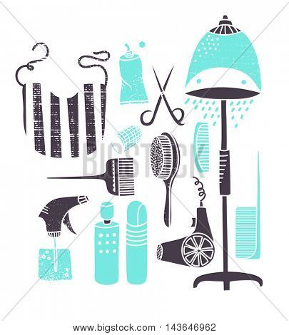 Set of hairdresser tools and icons, including bonnet hair dryer, hair-dying brush and paste, combs, scissors and the salon bib