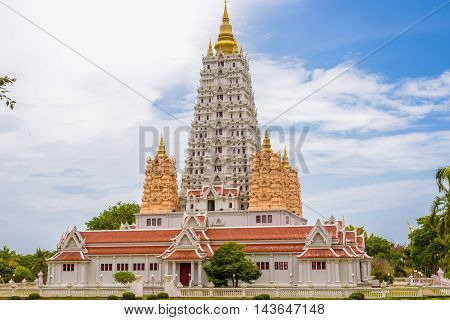 The pagoda in wat Yansangwararam Temple at Pattaya, Thailand.