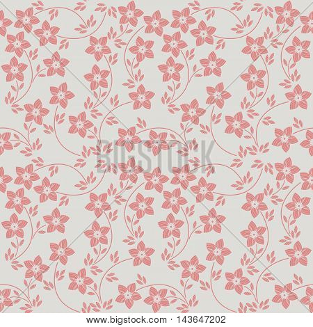 Elegant seamless pattern with cute flowers and leaves. Stylish pattern can be used for linen, wedding or birthday invitation ,cover and more designs.