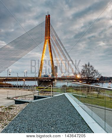 Cable bridge in Riga - capital and largest city of Latvia, a major commercial, cultural, historical and financial center of the Baltic region