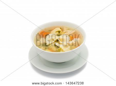 Chicken soup cooking  bouillon isolated on white