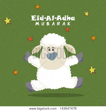 Cute Baby Sheep on stars decorated background, Vector greeting card for Muslim Community, Festival of Sacrifice, Eid-Al-Adha Mubarak.