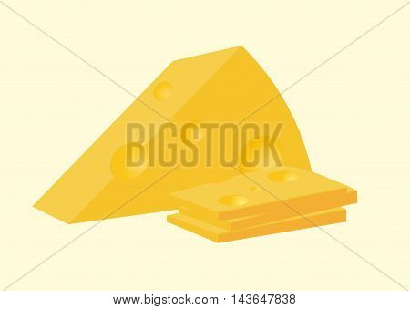 Vector Illustration Of Cheese. Sliced And Solid Piece.