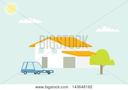 house and car with sun and cloud