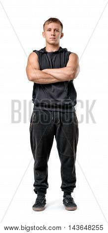 Full body portrait of handsome muscled young man with folded arms isolated on white background. Self improvement. Healthy lifestyle. Fitness, sport, bodybuilding, workout. Wellness and beauty.