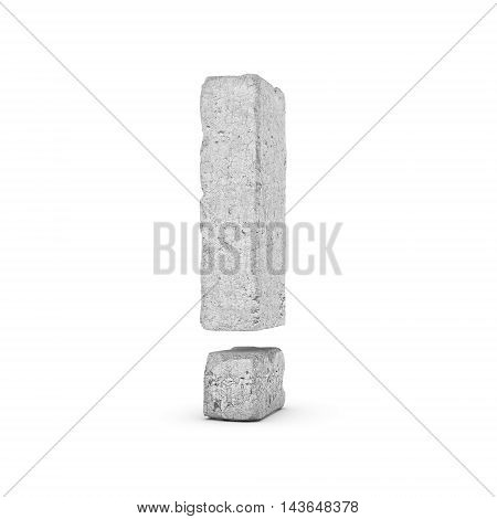 3D rendering of concrete exclamation mark isolated on white background. Signs and symbols. Cracked surface. Textured materials. Cement object.
