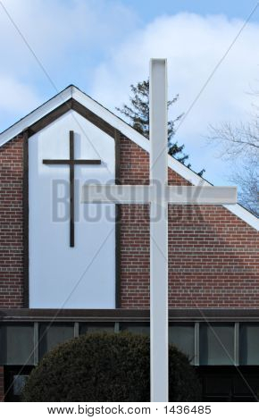 Christian Church With Two Crosses