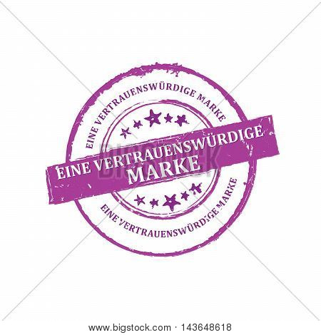 Trusted Brand (Text in German language) - purple grunge stamp / sticker / label for retail industry. Grunge layer is applied exactly on the colored stamp.