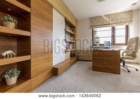 Modern And Cosy Office Room In A Luxurious House