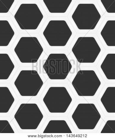 Dark grey hexagons in white ceramic frame. Seamless vector texture. Technology seamless pattern. Vector geometric dark background.