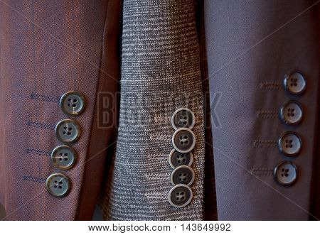 Buttons on a sleeve of man's suit
