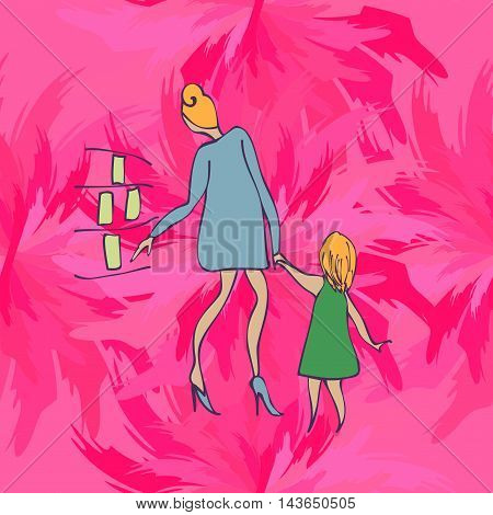 child and parent in the store, illlustration
